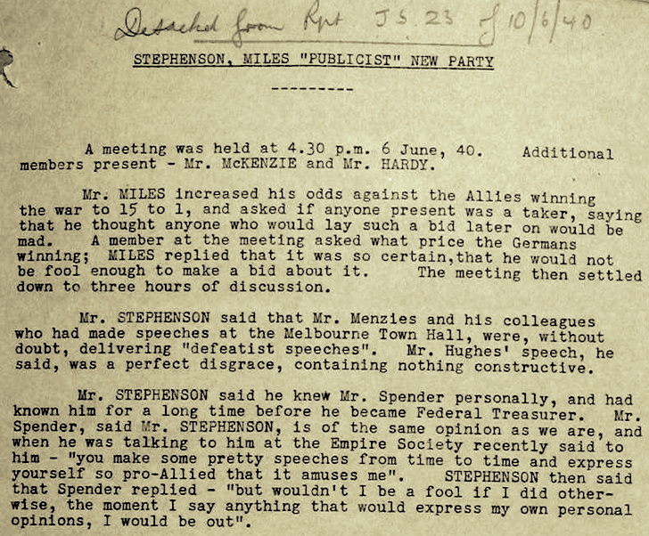ASIO 1 on AUST FIRST 1940-06-10