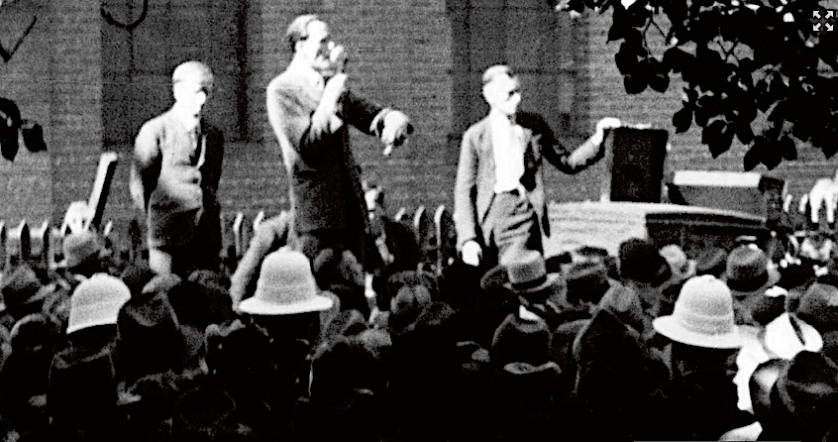 jack Blake 1942 speaking Yarra Bank pic by Albert Tucker detail NLA